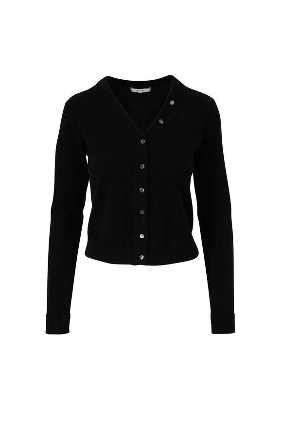 Black Cashmere Button Front Cardigan