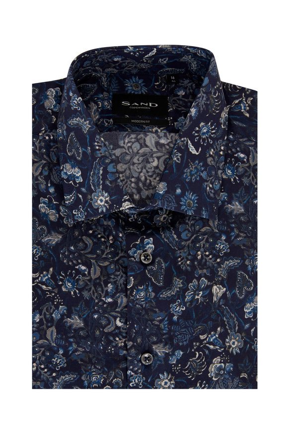 Sand Staten Blue Floral Modern Fit Sport Shirt