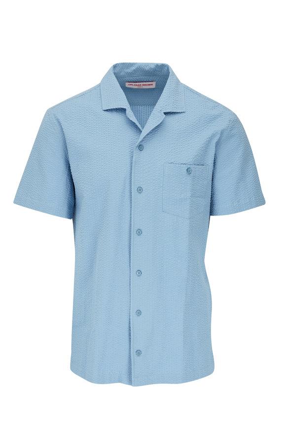 Orlebar Brown Hibbert Mineral Tonal Seersucker Shirt