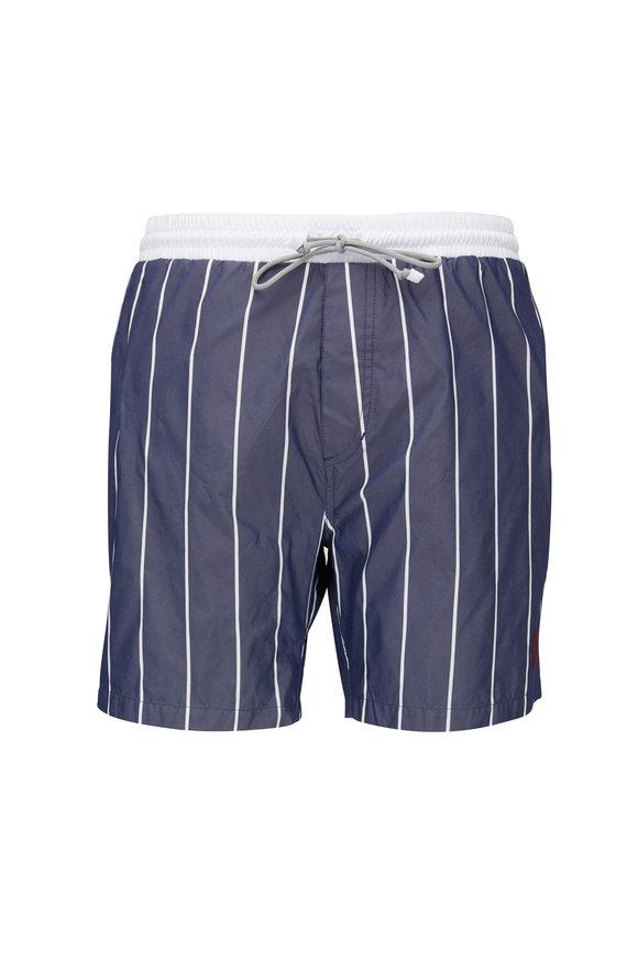 Brunello Cucinelli Blue & White Stripe Swim Trunks