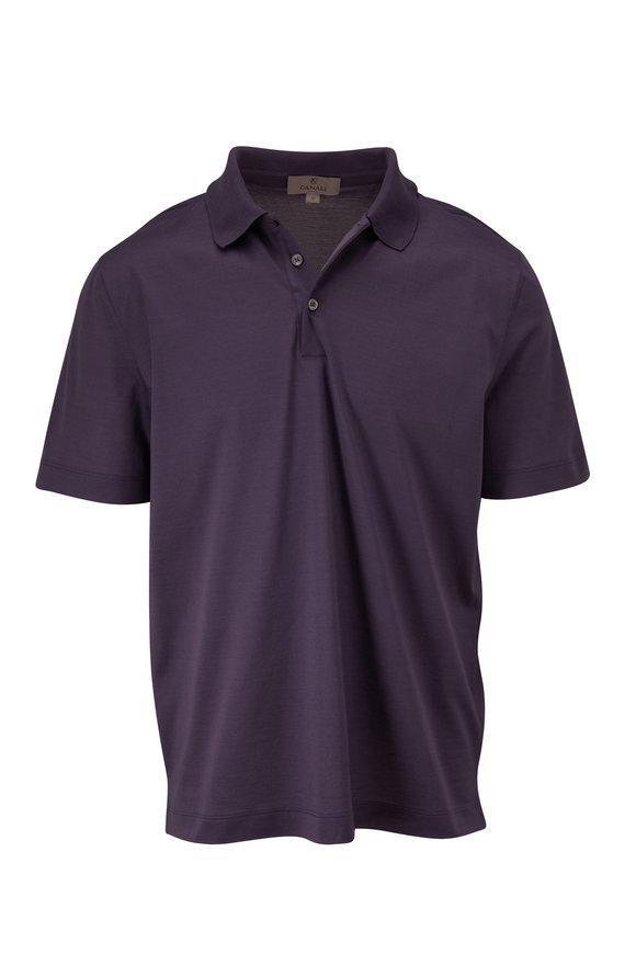 Canali Purple Piqué Short Sleeve Polo