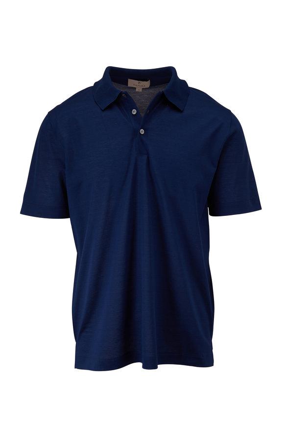 Canali Navy Piqué Short Sleeve Polo