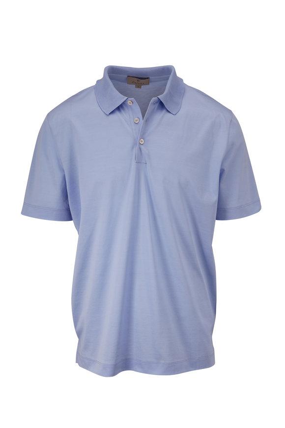 Canali Light Blue Piqué Short Sleeve Polo