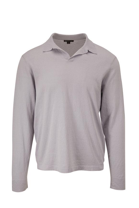 James Perse Gray Long Sleeve Polo