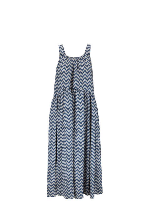 Giorgio Armani Blue Matte Satin Chevron Sleeveless Maxi Dress