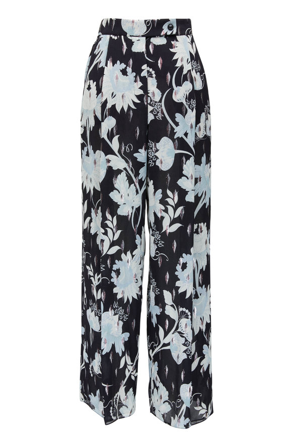 Giorgio Armani Black Multi Silk Floral High-Rise Crop Pant