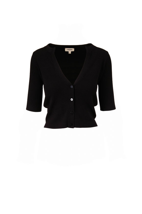 L'Agence Carrie Black Ribbed Short Sleeve Cardigan