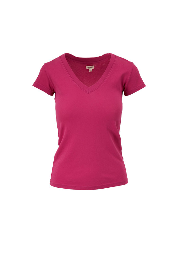 L'Agence Becca Violet Rose V-Neck T-Shirt