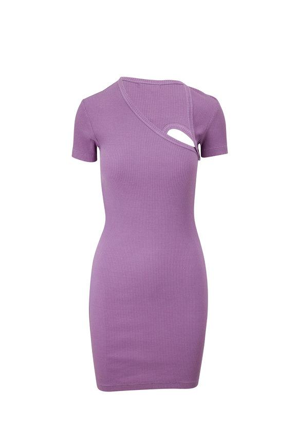 John Elliott Planet Cotton Ribbed Short Sleeve Dress