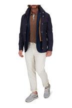 Brunello Cucinelli - Navy & Brown Linen & Cotton Pocket Square