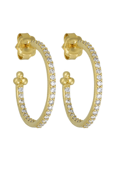 Temple St. Clair - Yellow Gold Diamond Hoop Earrings