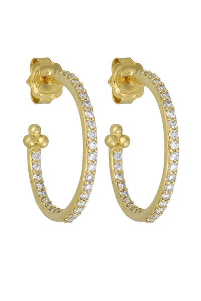 Temple St. Clair - Yellow Gold Diamond Hoop Earrings