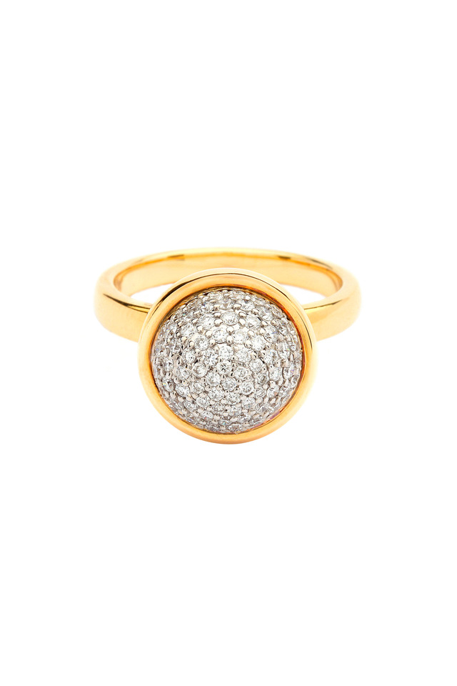 Yellow Gold Large Diamond Bauble Stack Ring