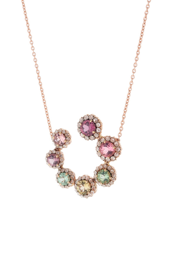 Selim Mouzannar 18K Pink Gold Diamond & Tourmaline Necklace