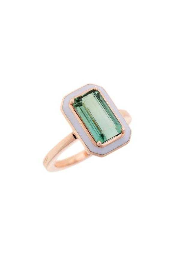 Selim Mouzannar 18K Pink Gold Green Beryl & Lilac Enamel Ring