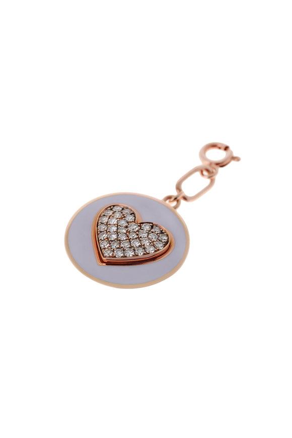 Selim Mouzannar 18K Pink Gold Diamond & Enamel Heart Disc Pendant