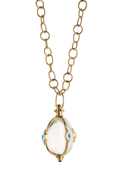 Temple St. Clair - 18K Gold Crystal, Moonstone & Tanzanite Amulet