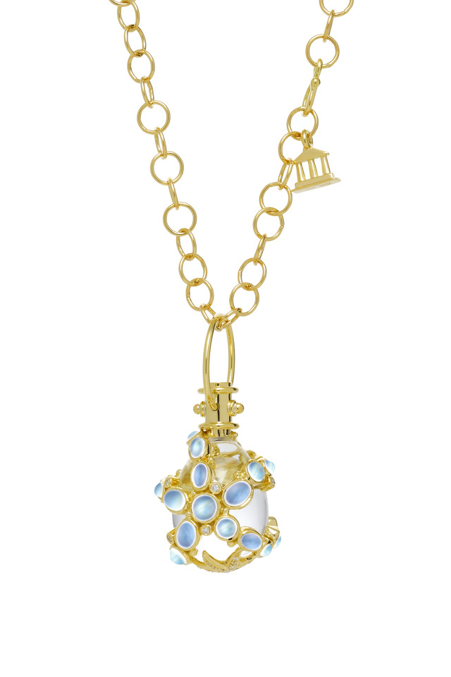 Yellow Gold Blue Moonstone Diamond Seastar Pendant