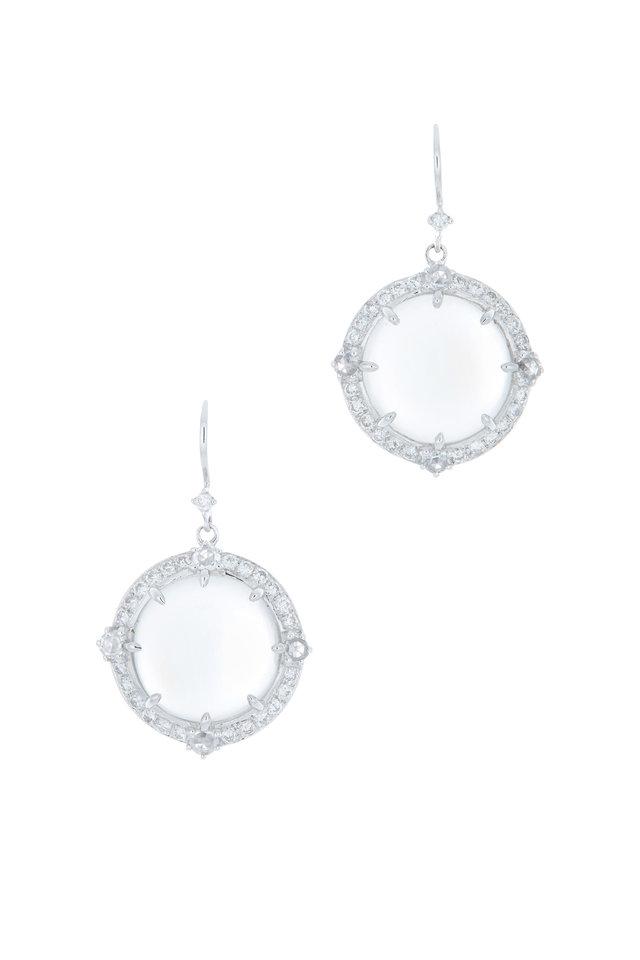 Blue Moonstone & Diamond Earrings