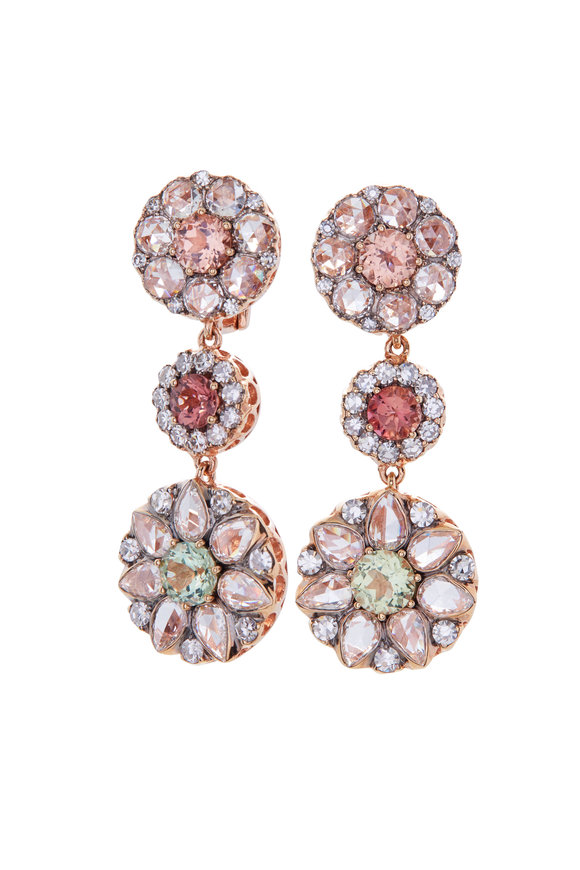Selim Mouzannar 18K Pink Gold Diamond & Tourmaline Earrings