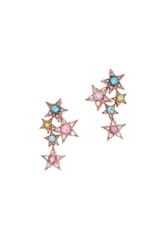 Selim Mouzannar 18K Pink Gold Diamond & Tourmaline Star Earrings