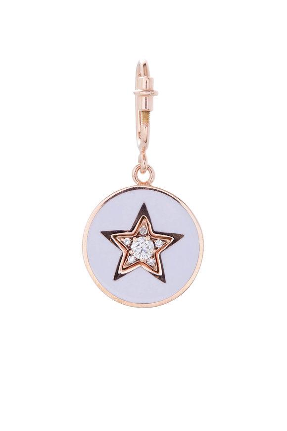 Selim Mouzannar Pink Gold Diamond & Lilac Enamel Star Disc Pendant