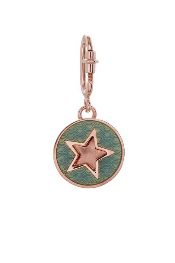 Selim Mouzannar 18K Pink Gold Aqua Enamel Star Disc Pendant