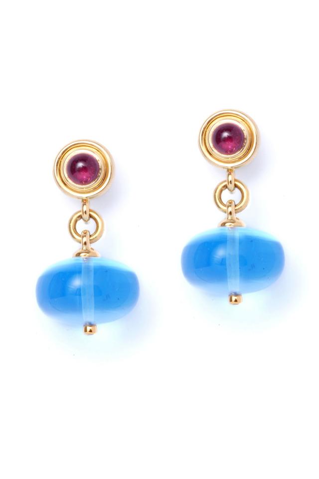 Ruby And Blue Topaz Dangle Earrings