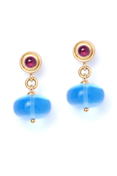 Syna - Ruby And Blue Topaz Dangle Earrings