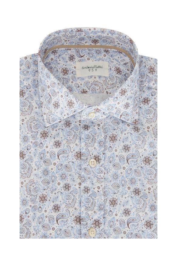 Tintoria Blue & Brown Paisley Sport Shirt