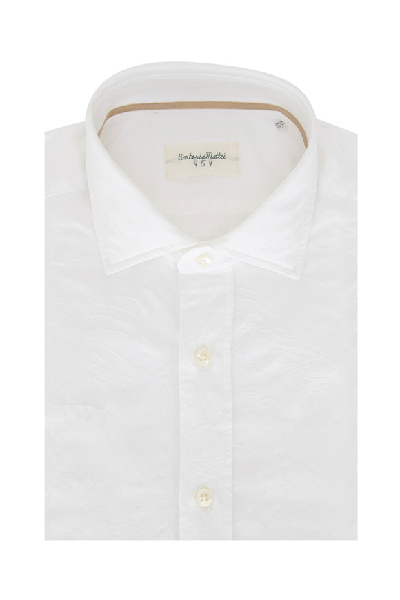 Tintoria White Tonal Floral Sport Shirt