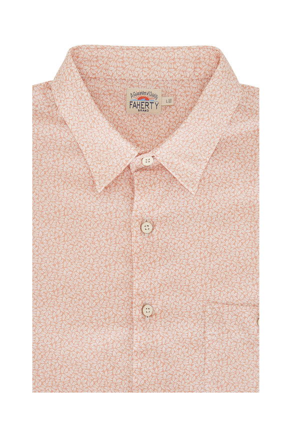 Faherty Brand Playa Faded Clay Leaf Short Sleeve Shirt