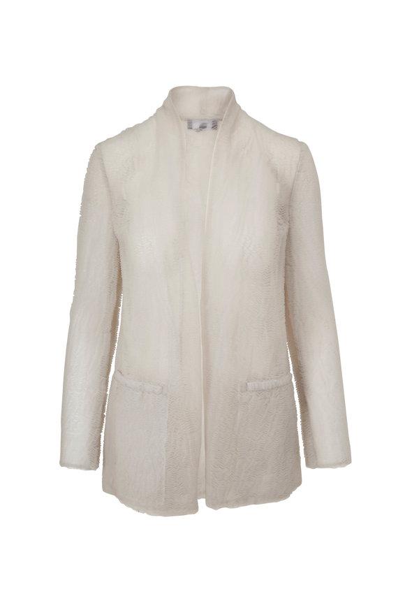 Giorgio Armani Ivory Textured Jersey Cardigan