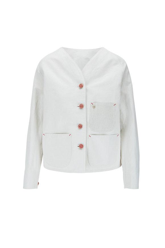 Giorgio Armani Natural Canvas Mixed Media Jacket