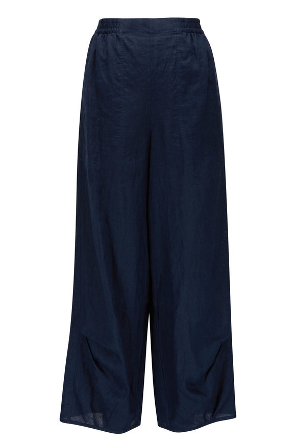Giorgio Armani Navy Washed Linen Pull On Pant
