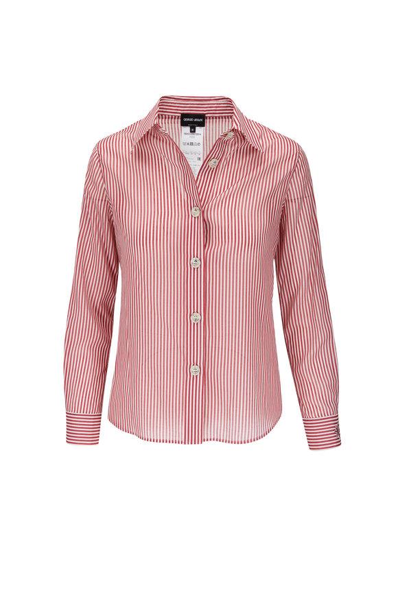 Giorgio Armani Red & White Stripe Button Down Shirt