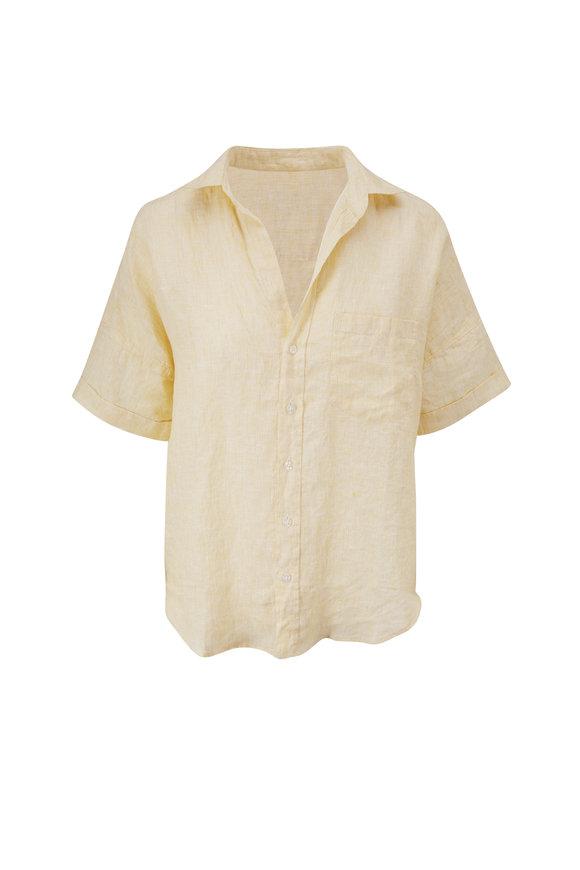 Frank & Eileen Rose Yellow Lived In Linen Short Sleeve Shirt