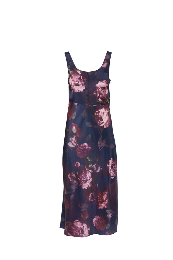 Vince Black Night Garden Square Neck Slip Dress