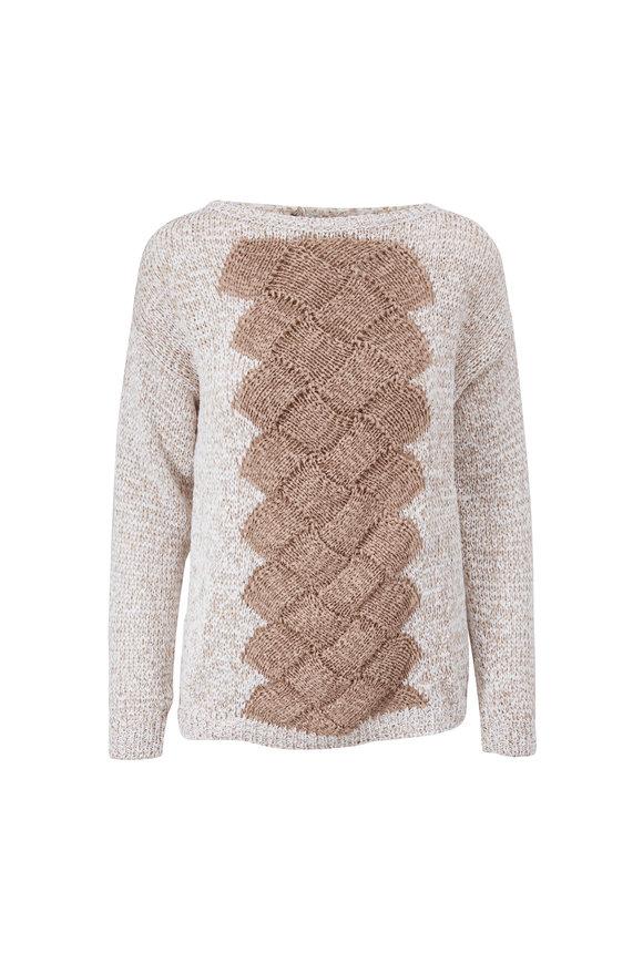 D.Exterior Sand & White Mini Paillette Sweater