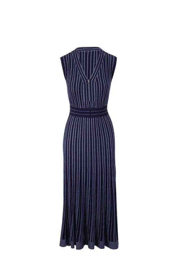 D.Exterior Navy Blue Lurex Sleeveless Midi Dress