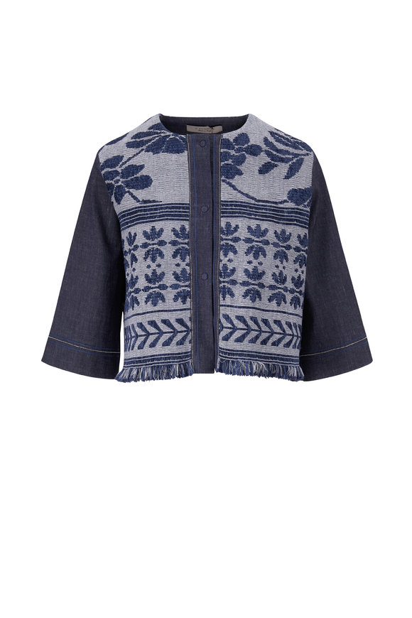 D.Exterior Denim Blue Crop Jacket