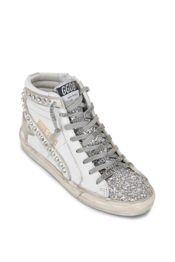 Golden Goose Hi Star Slide White Leather & Silver Studs Sneaker