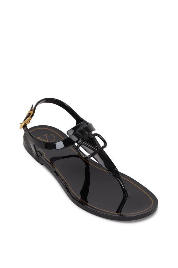 Valentino Garavani VLogo Signature Black Flat Rubber Sandal