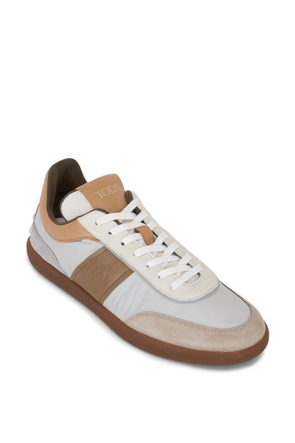 Tod's Cassetta Tan & Gray Mixed Media Sneaker