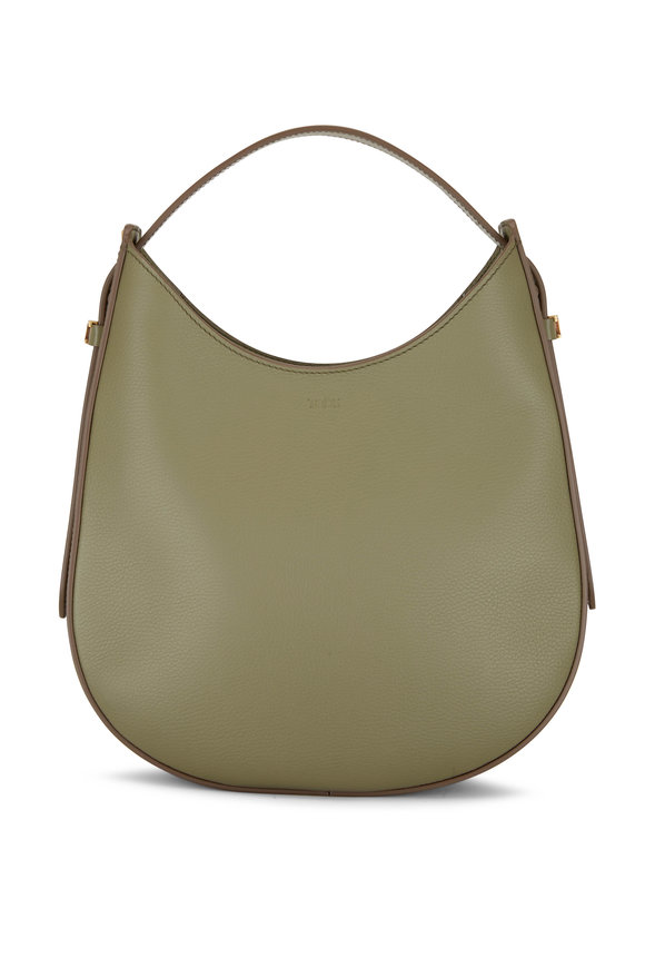 Tod's Oboe Olive Grained Leather Small Hobo