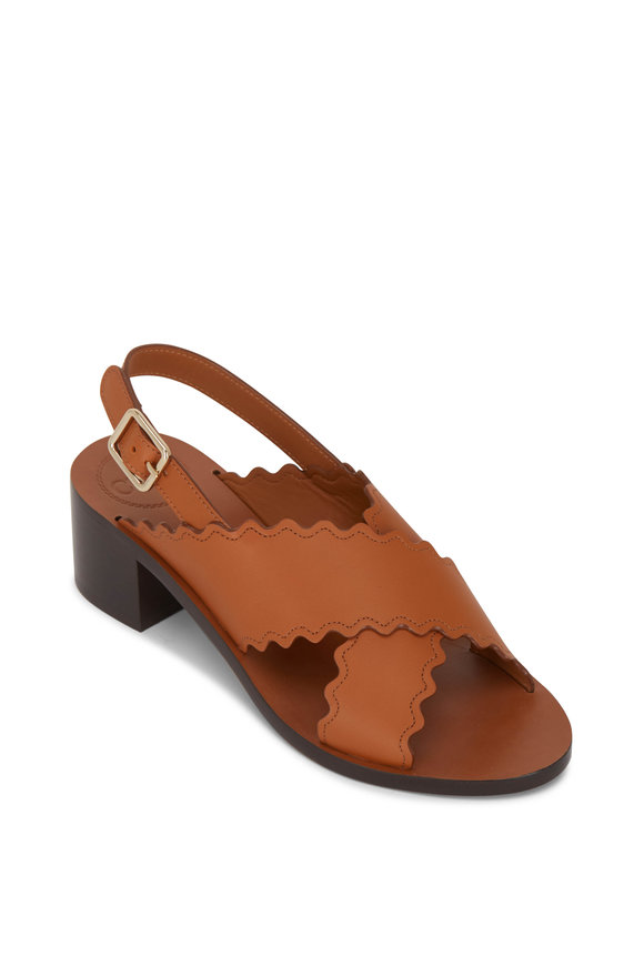Chloé Cognac Leather Chunky Heel Slingback, 40mm