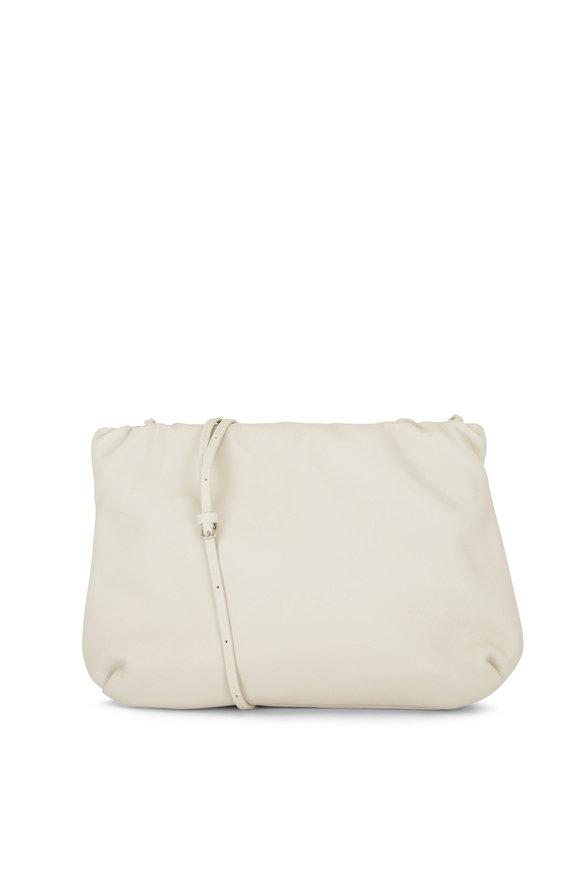 The Row Bourse Ivory Leather Clutch