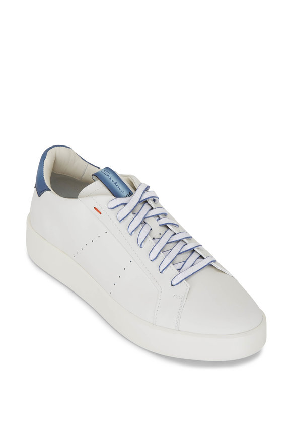 Santoni Part White Leather Low Top Sneaker