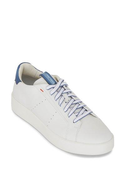 Santoni - Part White Leather Low Top Sneaker