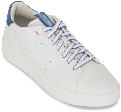 Santoni Part White Leather Low Top Sneaker